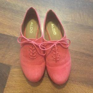 Aldo salmon lace-up Mary Jane flat loafer shoe